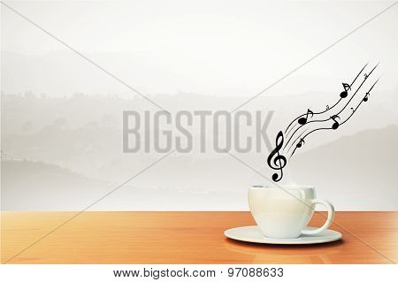 Cup Of Coffee And Musical Notes, Concept