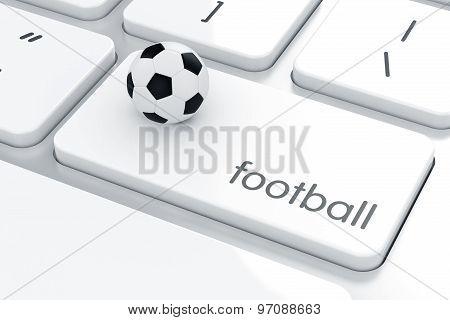 Football Ball On The Computer Keyboard