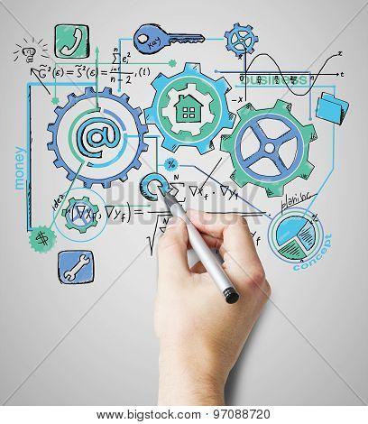 Hand Draws A Business Scheme, Concept