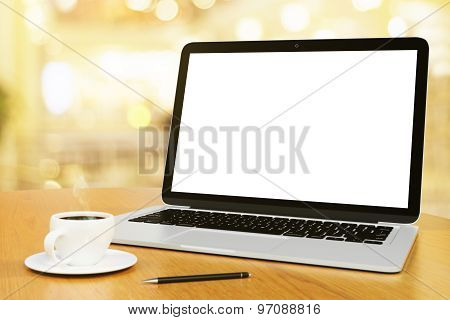 Blank Screen Of Laptop With Cup Of Coffee And Pen, Mock Up