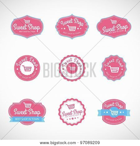 Pink Sweet shop and shopping cart banner vector vintage logo