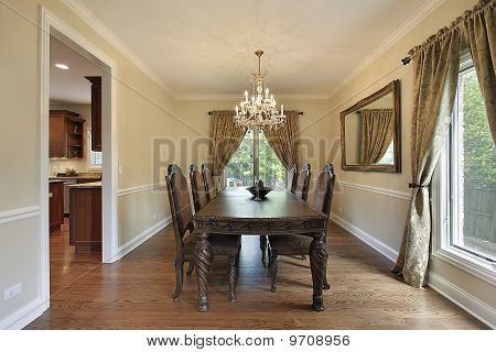 Dining Room With Gold Draperies