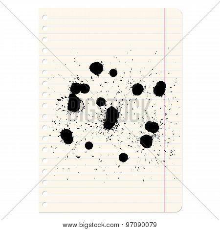 Brush Blot On  Exercise Book In Line. Vector Illustration.