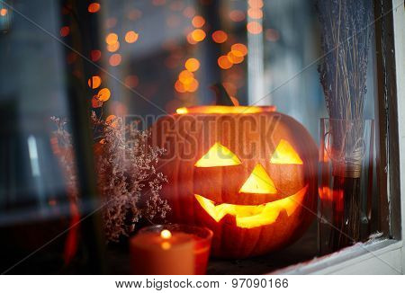Symbol of halloween in window