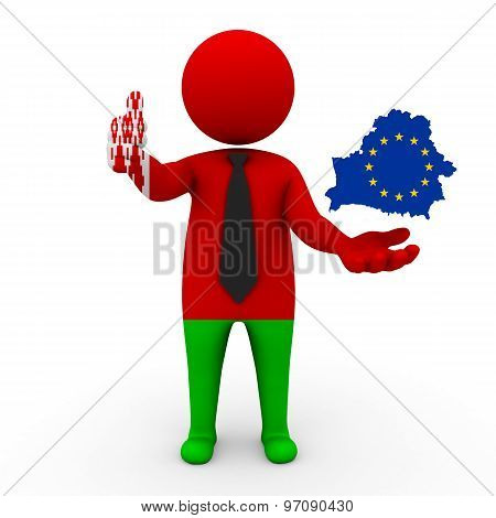 3d businessman people Belarus - with a map of the flag of EC-Belarus