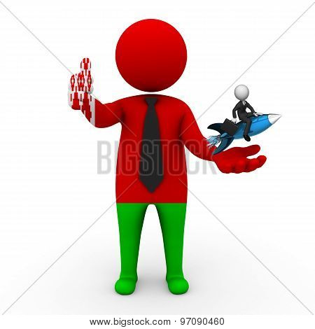 3d businessman people Belarus - with a missile in the hands and grow your business