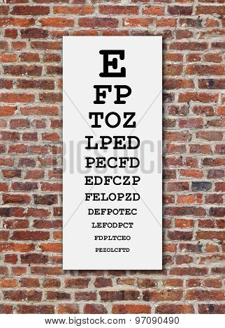 Eye Chart On Brick Wall