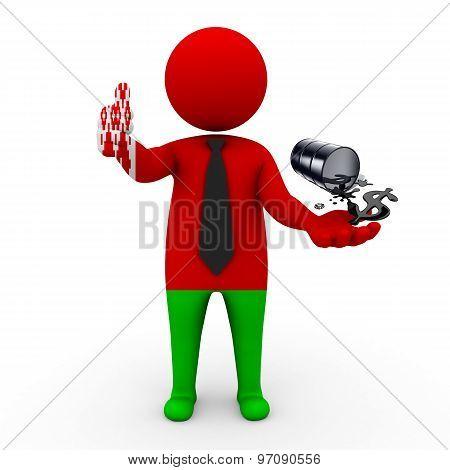 3d businessman people  Belarus- oil business Belarus