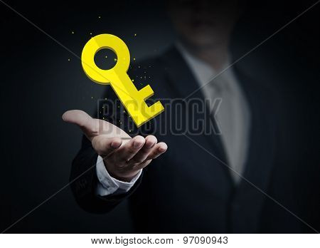 Close Up Of Businessman Holding Yellow Key In Hand, Business, Technology, Internet And Networking Co