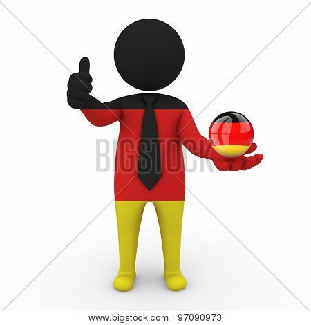 3d businessman people Germany - in the hands of the spherical icon of Germany