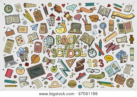 School and education doodles hand drawn vector symbols