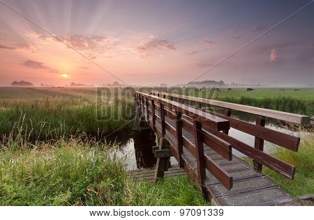 Bike Bridge Over River At Sunrise