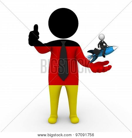 3d businessman people Germany - with a missile in the hands and grow your business