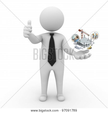 3d businessman people - construction and innovative technologies
