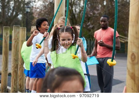 Group Of Children In School Physical Education Class