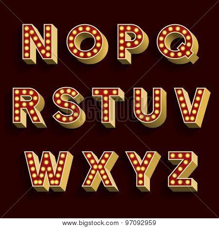 Retro Light Bulb Alphabet Vector Font. Part 2 of 3. Letters N - Z.