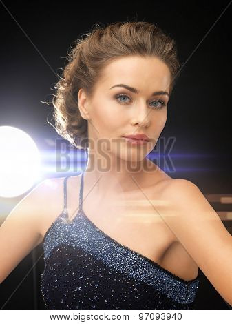 close up of beautiful woman in evening dress