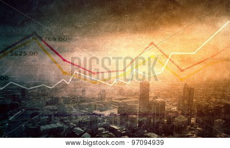 Abstract background image with business concepts and graphs