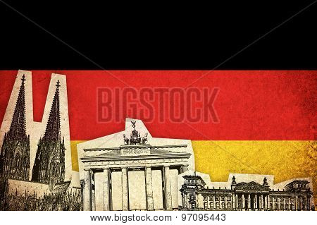 Grunge Flag Of Germany With Monument