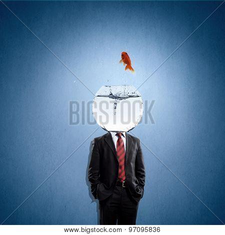 Man with aquarium on head