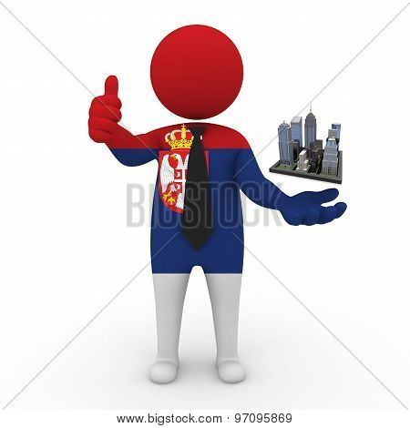 3d businessman people Serbia - Megalopolis and cities