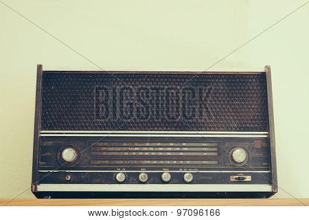 Vintage Fashioned Radio On White Background