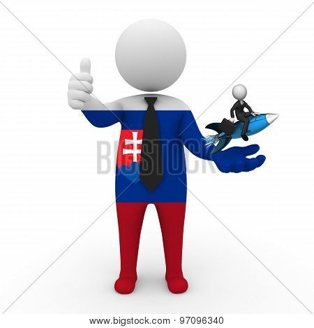 3d businessman people Slovakia - with a missile in the hands and grow your business