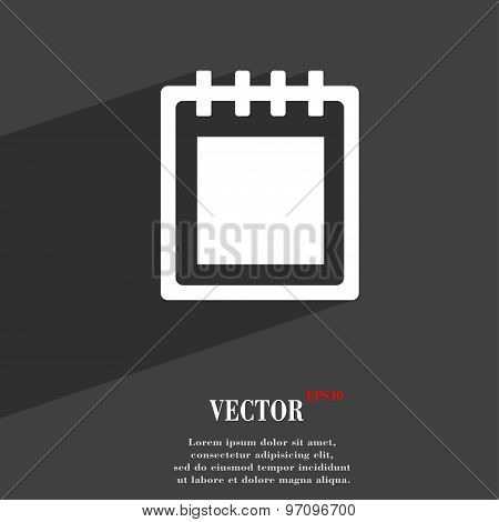 Notepad Icon Symbol Flat Modern Web Design With Long Shadow And Space For Your Text. Vector