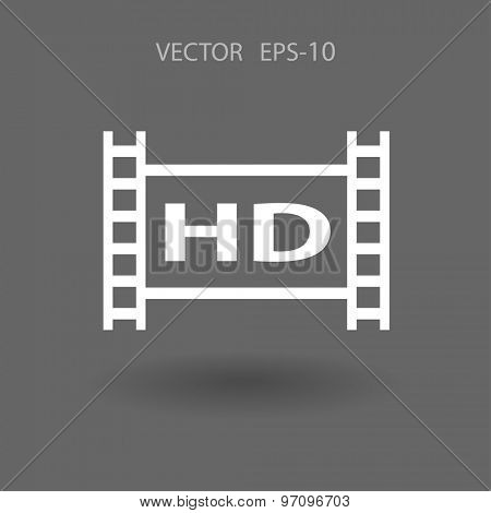 Flat icon of hd video