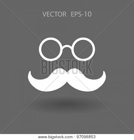 Flat long shadow Hipster retro style mustache and eyeglasses icon, vector illustration