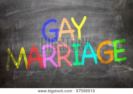 Gay Marriage written on a chalkboard