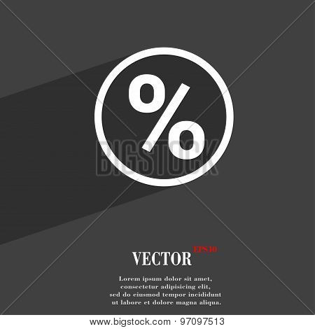 Percentage Discount Icon Symbol Flat Modern Web Design With Long Shadow And Space For Your Text. Vec