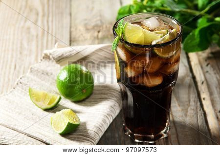 Cocktail With Cola And Ice