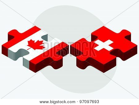 Canada And Switzerland Flags