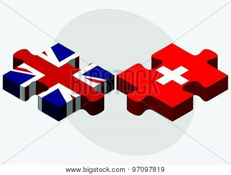 United Kingdom And Switzerland Flags