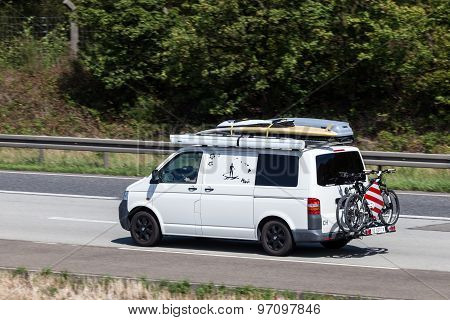 Volkswagen T5 Van On The Highway