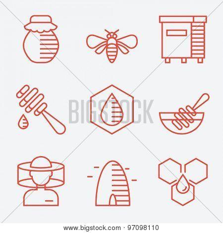 Honey icons, thin line style, flat design