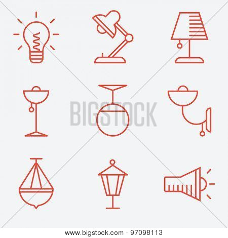 Lamp icons, thin line style, flat design