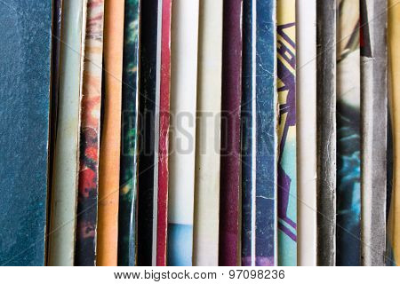 Vinyl Record Packaging In Vertical Closeup