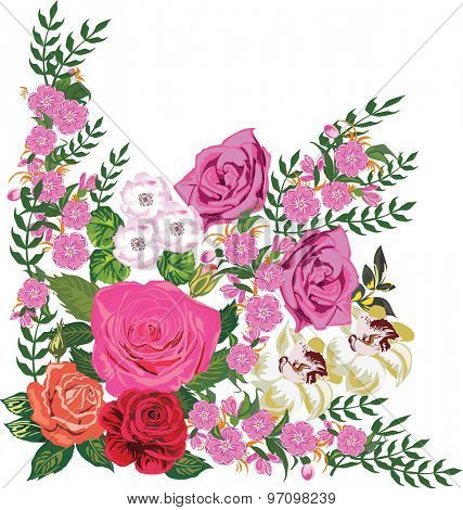 illustration with pink flowers corner isolated on white background