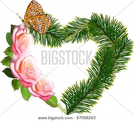 illustration with heart symbol from rose flowers and pine branches isolated on white background