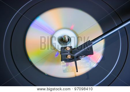 Cd Disc On A Turntable Top View Selective Focus