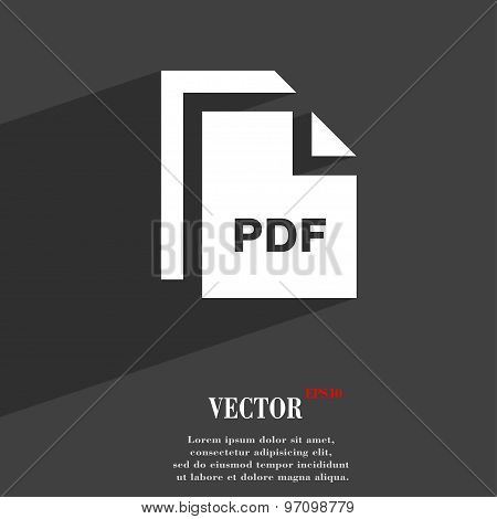 File Pdf Icon Symbol Flat Modern Web Design With Long Shadow And Space For Your Text. Vector