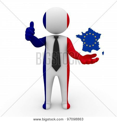 3d businessman people France - with a map of the flag of EC-France