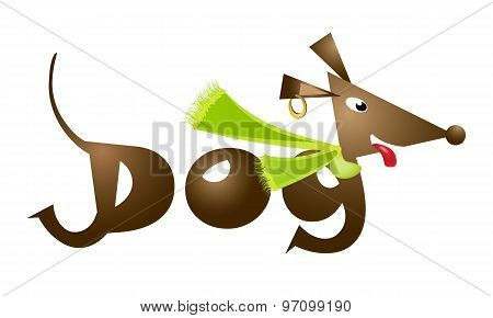 A stylized dachshund logo, illustration, dog dressed with a scarf