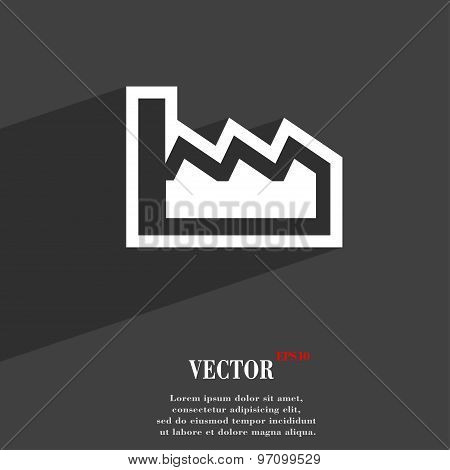Chart Icon Symbol Flat Modern Web Design With Long Shadow And Space For Your Text. Vector