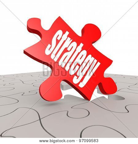 Strategy Word With Puzzle Background