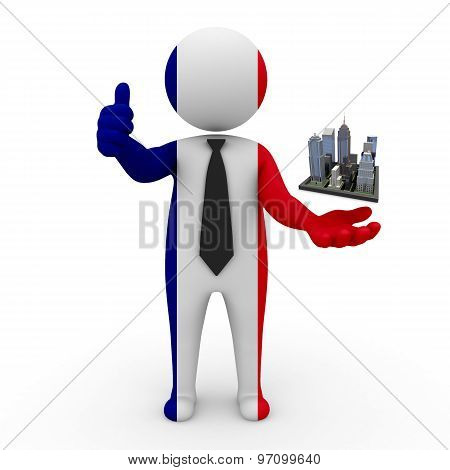 3d businessman people France - Megalopolis and cities