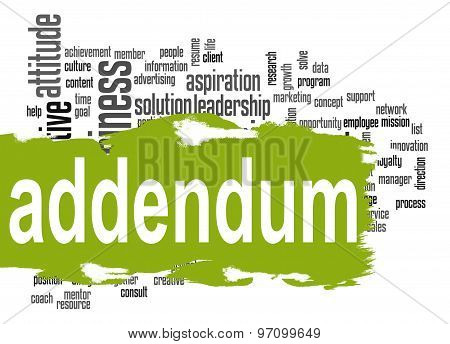 Addendum Word Cloud With Green Banner