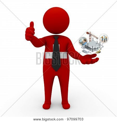 3d businessman people Switzerland - construction and innovative technologies